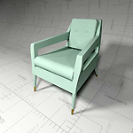 Chantal Armchair, Revit Render 