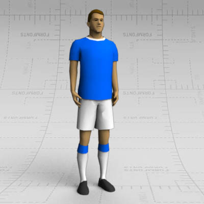 Soccer player standing  in lineup.
