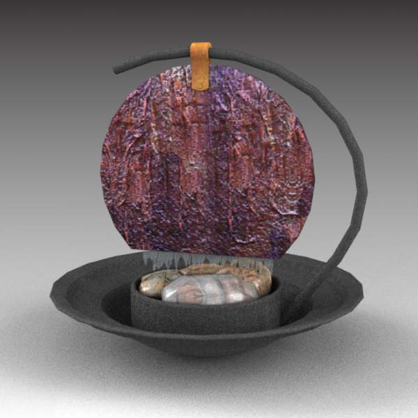 Tabletop water feature in black metal, copper and ....