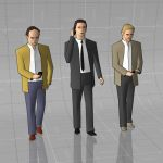 Low poly formal men walking set 2