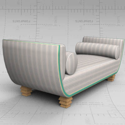 Halle daybed 3d model formfonts 3d models textures for Chaise longue halle