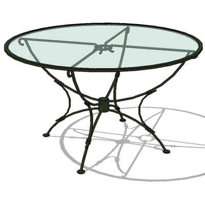 Wrought Iron Table With Glass Top.