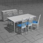 Claudia dining set. Painted white.