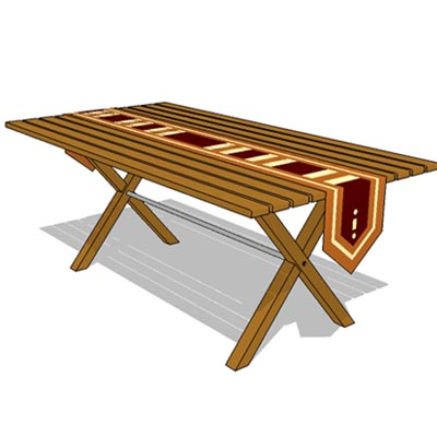 Teak dining table with table cloth runner.