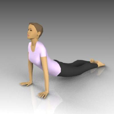 Females in yoga positions. Upward 