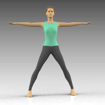 Female yoga poses. Extended arms 
