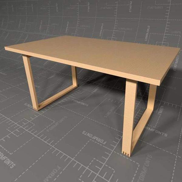 MUJI Solid Oak Table 3D Model  FormFonts 3D Models & Textures