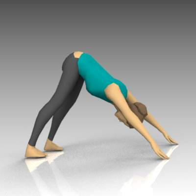 Female yoga poses. Downward 