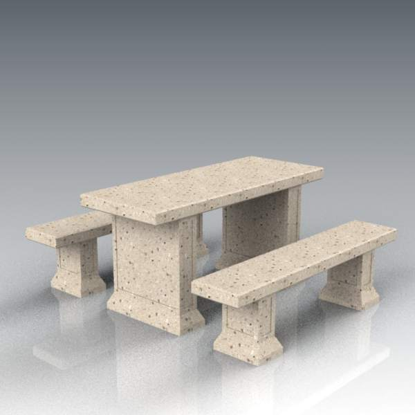 Concrete table and benches; 60