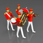 A selection of marching bandsmen