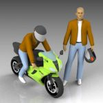 Biker in riding and standing poses.