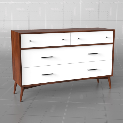 mid century dresser white acorn 3d model formfonts 3d models textures. Black Bedroom Furniture Sets. Home Design Ideas