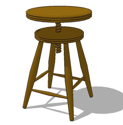 Round Teak Wood Stool, Adjustable Height.