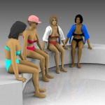 Females sitting in swimwear.