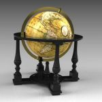 "24"" floor globe with Cassini maps 