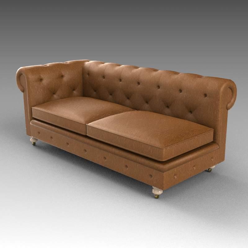 Petite kensington lounger 3d model formfonts 3d models for Chaise longue dwg