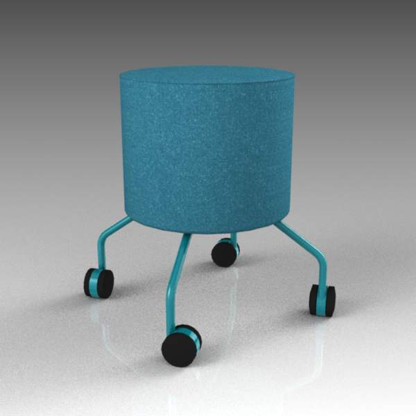 Drop footstool with castors by 