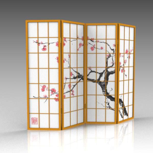 Japanese Screen 3D Model FormFonts 3D Models Textures