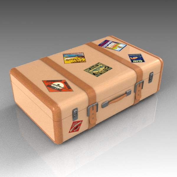 Vintage-style suitcases with travel 