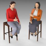 Women sitting on stool