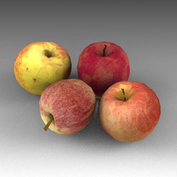 Low poly, mapped apples. The models 