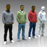 Low poly people for more distant 