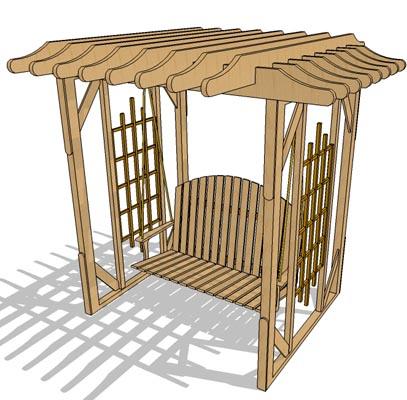 garden swing 02 3d model