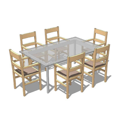 FREE DOWNLOAD Glass Table With Six Dining Chairs