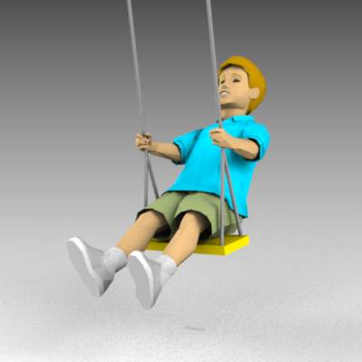 Child on swing. Model includes swing (in vertical ....