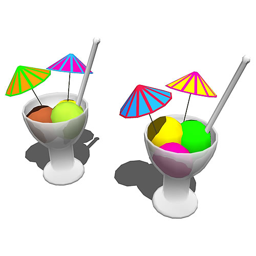 Flavored ice in sorbetglasses with paper umbrella ....