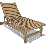 Teak lounger with wheels for easy shifting