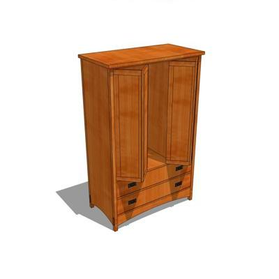 Arts and Crafts Style Armoire. Doors open. Fully f....