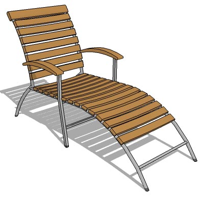 Superieur Fixed Back Pool Chair With Teak Slats And Metal Fr.