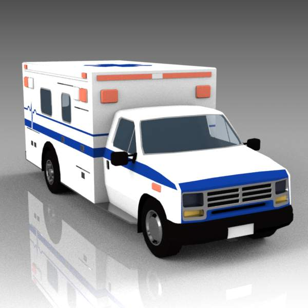 US type ambulance. On road, rear doors closed..