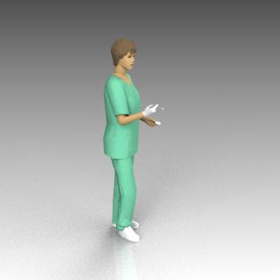 Female nurse in scrubs; with hypodermic needle..