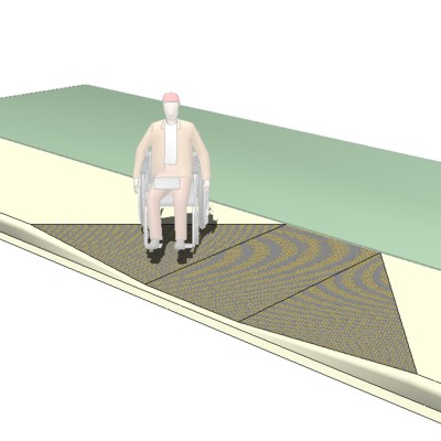 Ada Compliant Curb Cut Ramp For 6ft Wide Sidewalk 3d Model