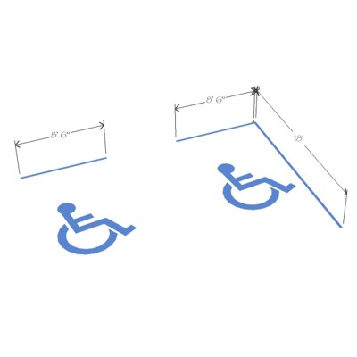 Parking Stalls with International Disabled PictoGram 3D