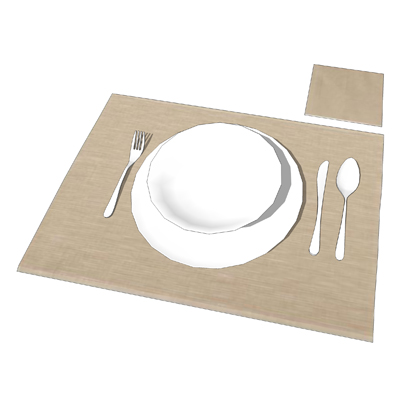 Place setting for scene dressing dining areas, all....
