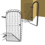 A wrought iron door that can be used to access a c...