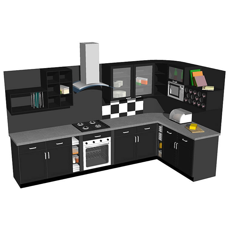 Kitchen Model In Modern Style With Many Added Deta