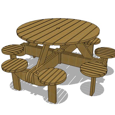 Outdoor picnic table.