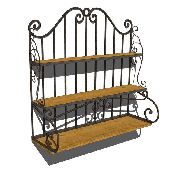 a wood and wrought iron decorative shelf that can