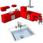 Retro style kitchen with: Dolphin sink with specia...