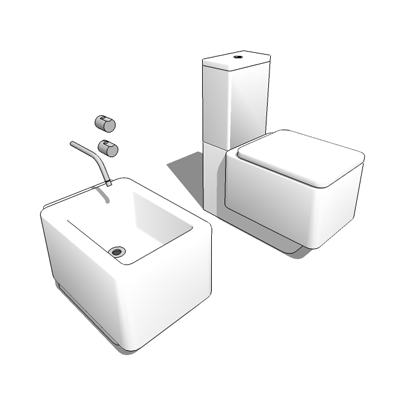 Element bidet and close-coupled WC suite by Roca, ....