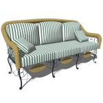 Wrought iron and wicker sofa for 3 people. Can be ...