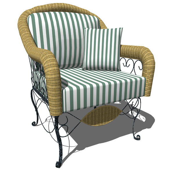 Wrought iron and wicker sofa armchair. Can be used....