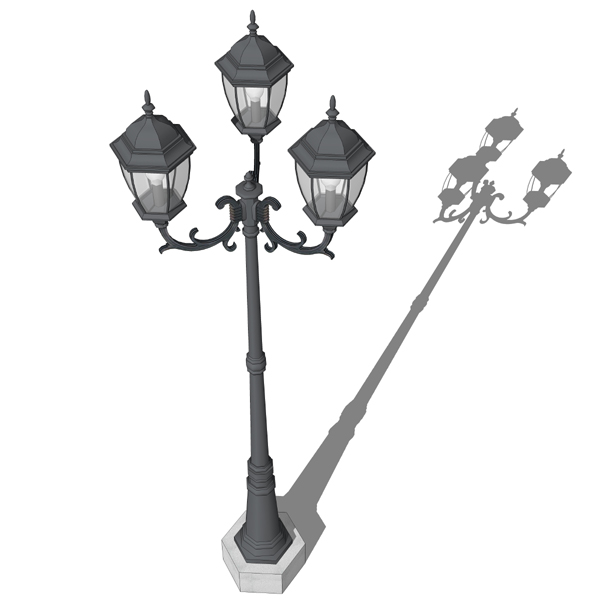 Triple lamp post 3d model formfonts 3d models textures antique style cast iron lamp post for outdoor deco publicscrutiny Image collections