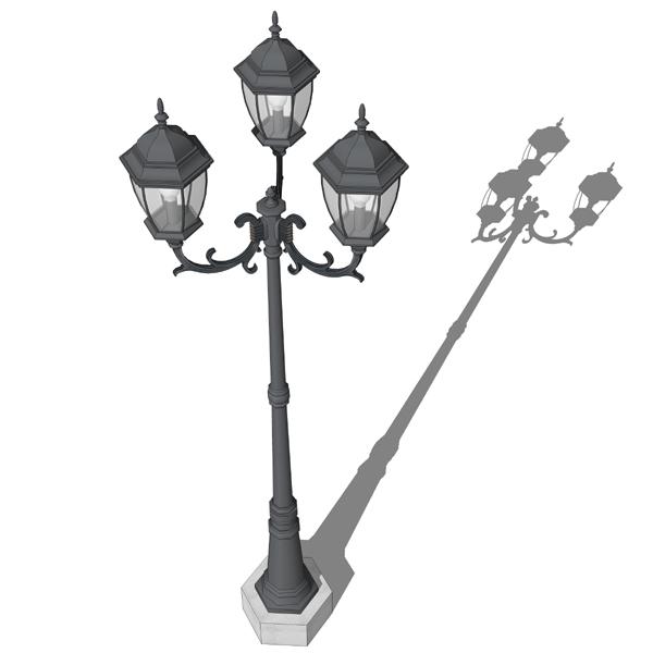 Triple lamp post 3D Model - FormFonts 3D Models & Textures