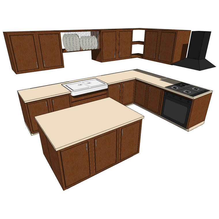 Very low poly, generic kitchen with kitchen island....