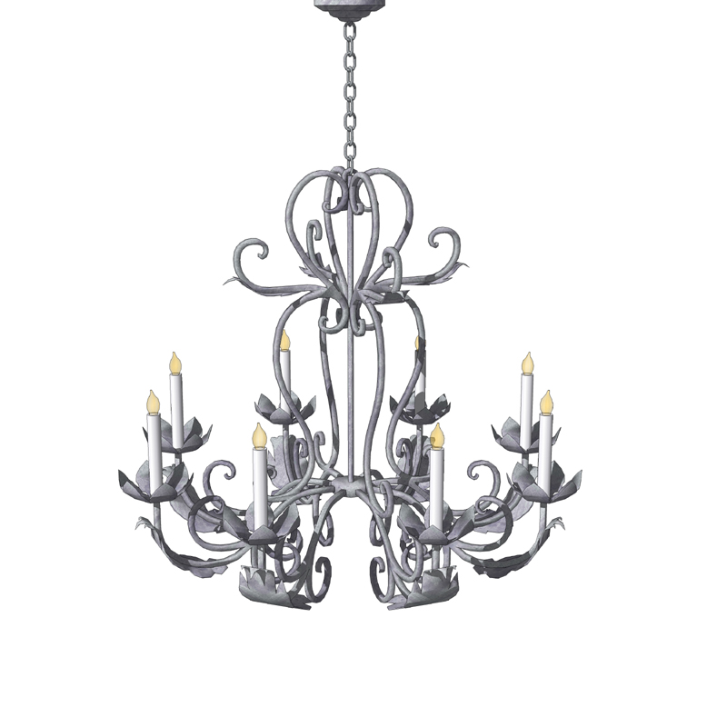 Iron chandelier 01 3d model formfonts 3d models textures hanging decorative chandelier can be used to deco mozeypictures Image collections